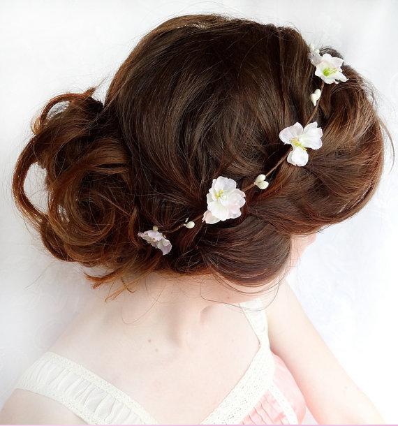 Wedding - blush pink / white flower hair circlet - ARIELLE - dainty bridal circlet, flower girl - New