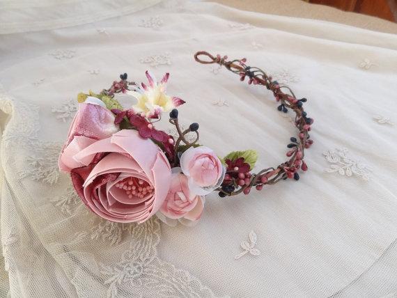 Silk Dresses Flower Crown Headband Floral Circlet 2228566