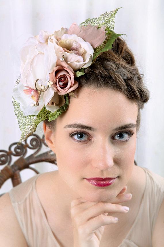 Hochzeit - silk flower bridal headpiece