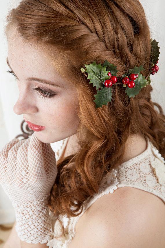 Свадьба - christmas hair clip