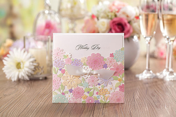 Mariage - 15 pcs Colorful Flower Wedding Invitation box