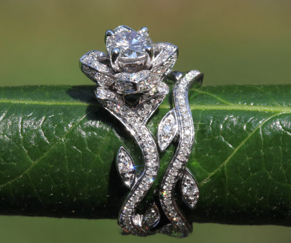Work Of Art Flower Leaf Rose Lotus Diamond Engagement Wedding Ring