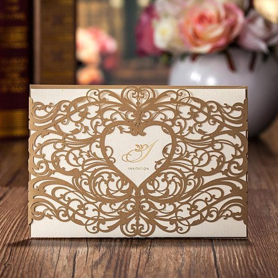 50 Pearl Golden Lace Wedding Invitation Cards 2229543 Weddbook