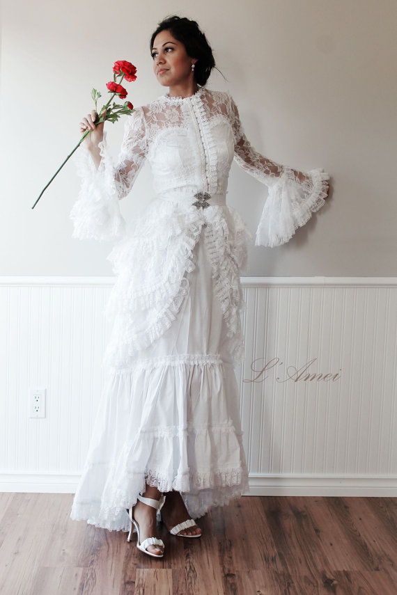 Vintage Victorian Style White Lace Wedding Gown #2230076 - Weddbook