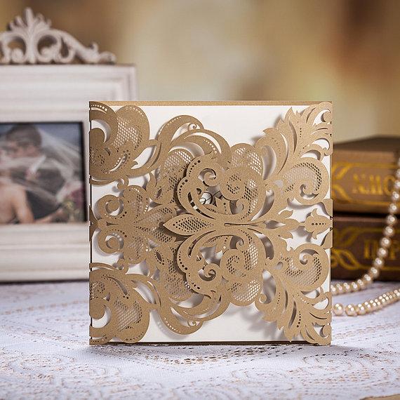 Mariage - 75 Vintage Golden Color Laser Cut Wedding Invitation Cards With Envelopes and Seals