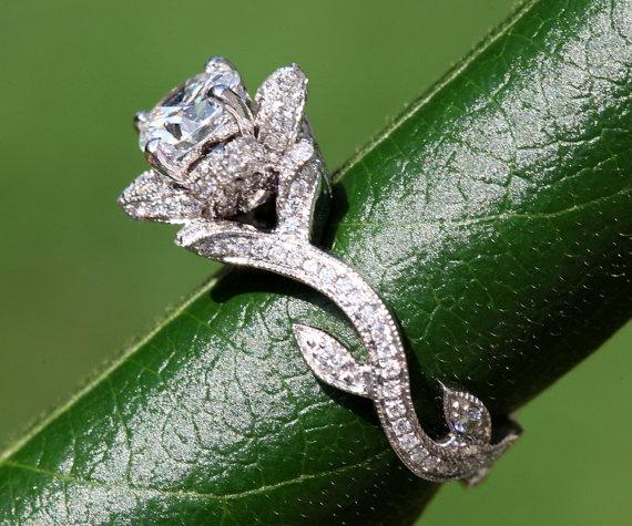 زفاف - BLOOMING Work Of Art - Milgrain Flower Rose Lotus Diamond Engagement Ring - Semi Mount - Setting - 18K white gold - fL07 - Patented - New