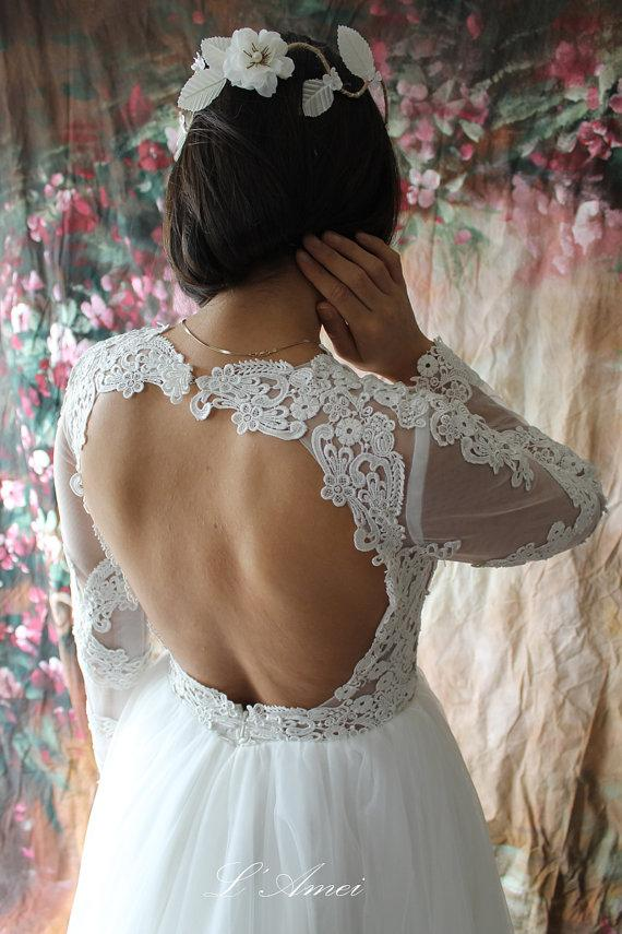 Свадьба - Long Lace Sleeve Wedding Dress with Stunning Low Back and Tulle Skirts - New