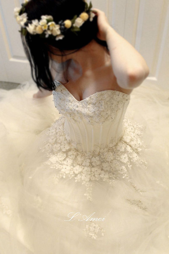 Wedding - Long Corseted Princess Style Wedding Bridal dress