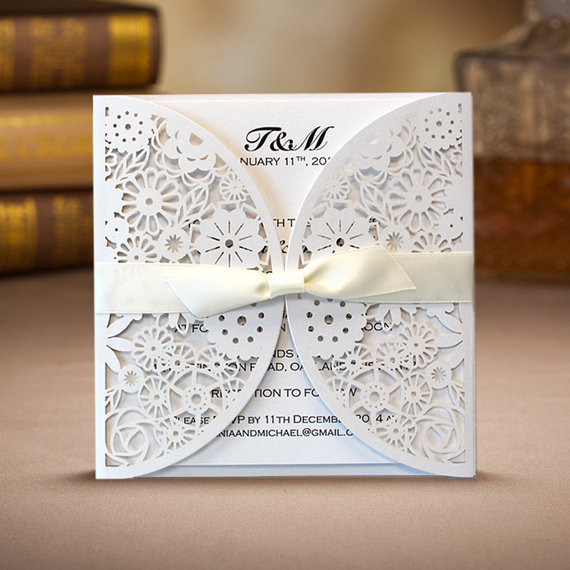50 Laser Cut Floral Wedding Invitation Cards With Ivory Ribbon Bow