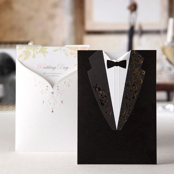 Wedding - 50 Pcs Wedding & Bridal Shower Invitation Cards For Black And White Wedding Theme, Ship Worldwide 3-5 Days -- Set Of 50 Pcs - New