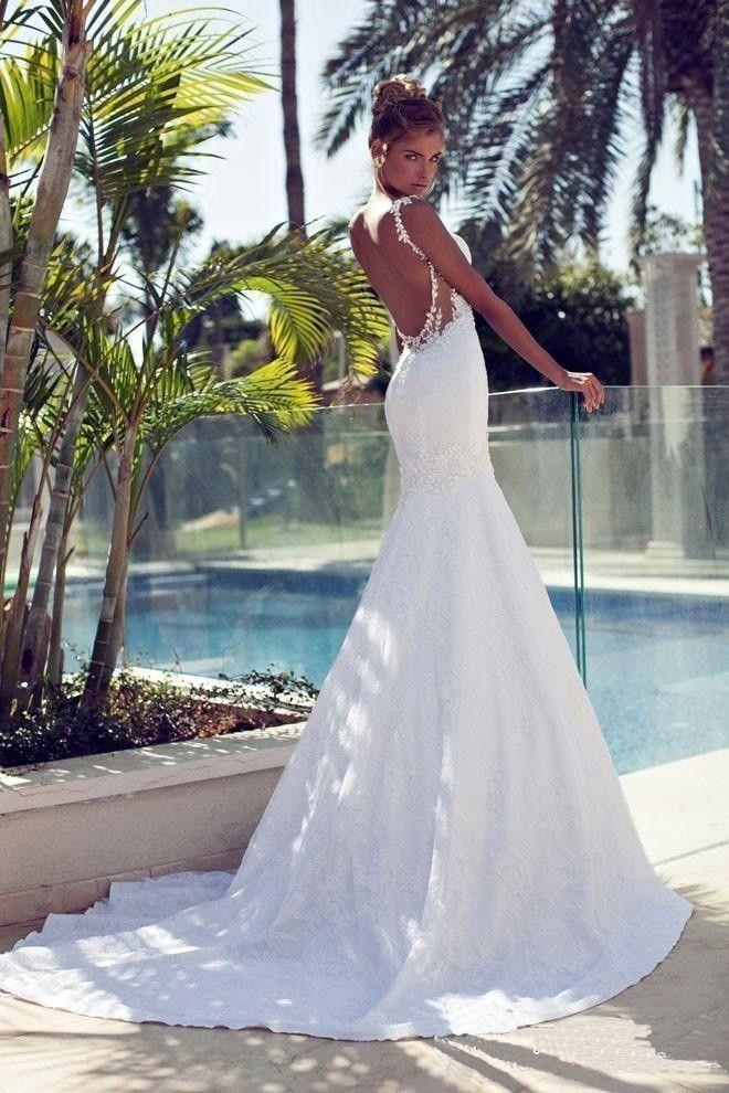 Свадьба - New White/ Ivory Backless Sexy Beach Lace Mermaid Wedding Dresses Custom Size