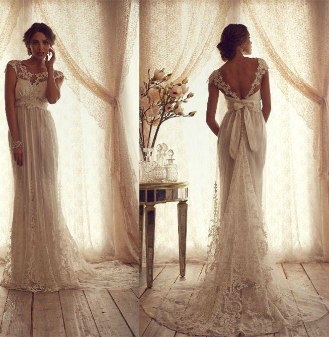 Mariage - 2015 A-Line Sexy Lace Wedding Dresses Bridal Gowns Custom Made 4 6 8 10 12 14 16