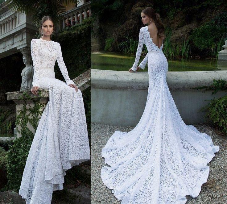 زفاف - White Ivory Mermaid Lace Wedding Bridal Dress Size 4 6 8 10 12 14 16