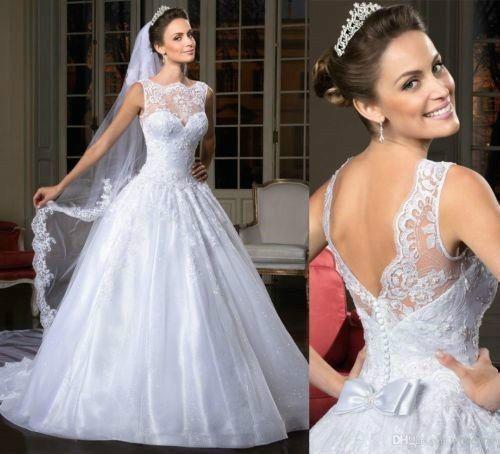 Wedding - 2015 New White/ivory Wedding Dress Bridal Gown Custom Size 4-6-8-10-12-14-16-18