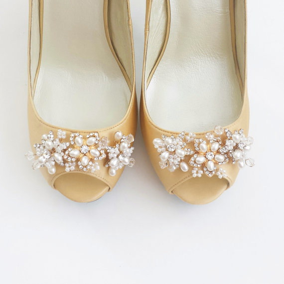 Düğün - Gold Bridal Wedding Shoes Pumps with Handmade Beads -  Flowers