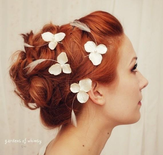 Свадьба - Wedding bobby pin set, hydrangea hair pins