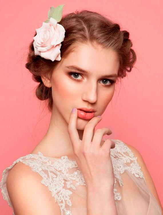 زفاف - Rose Hair clip Wedding Bridal hairpiece Pale pink rose made  from air dry clay - New