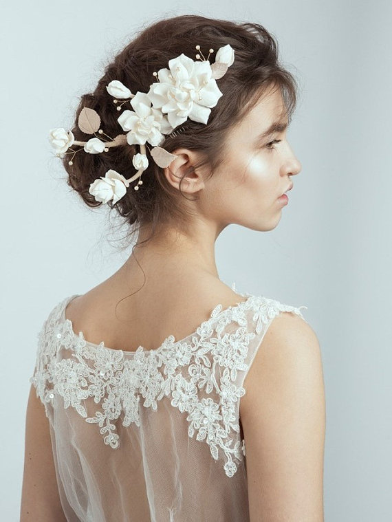 Handmade Wedding Hairpiece White Flower Hair Comb Bridal Accessories Made From Air Dry Clay New