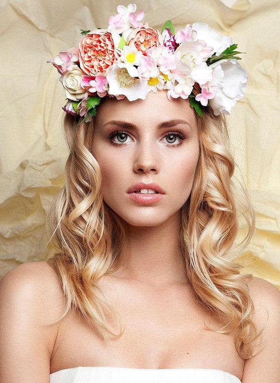Hochzeit - Bridal Floral Wreath Handmade Flower Crown Headband Hairpiece made  from clay - New