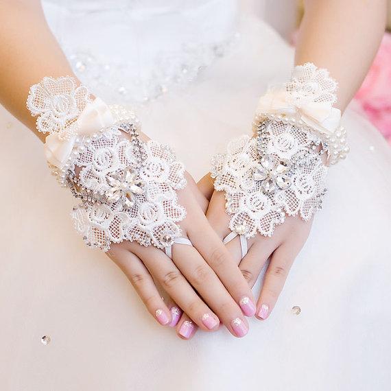 Mariage - Fingerless Lace Rhinestone and Pearl Bridal Glove