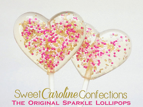 Mariage - Pink and Gold Heart Valentine's Day Lollipops