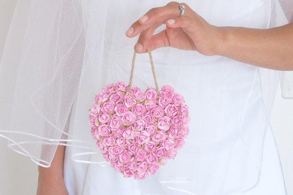 Mariage - Pink Photo Prop Pomander Rose Heart Flowers