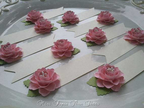 Wedding - Pink Paper Flower Place Cards