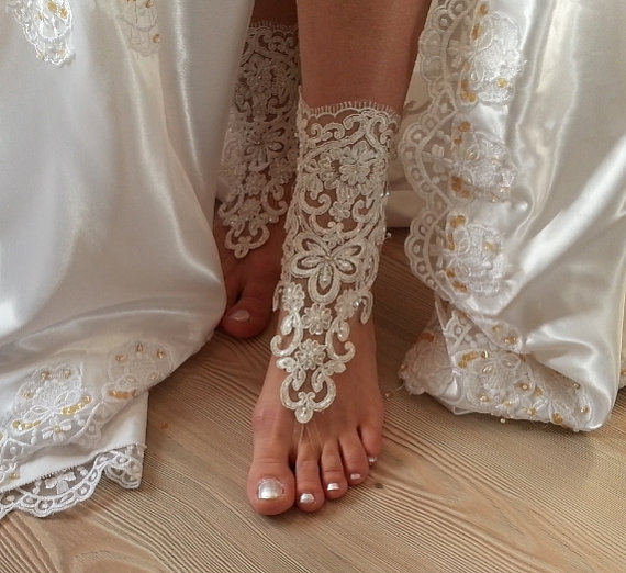Wedding - Sensual Ivory and French Lace Barefoot Sandals