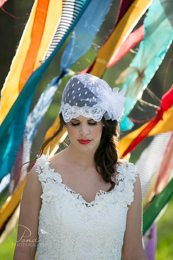 Wedding - White Swiss dot Tulle Bridal Cap