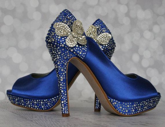 Royal Blue Wedding Shoes With Silver Blue Rhinestones