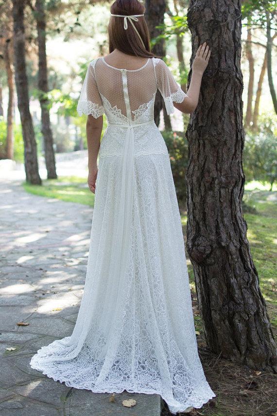 زفاف - Boho Long gown with white laces