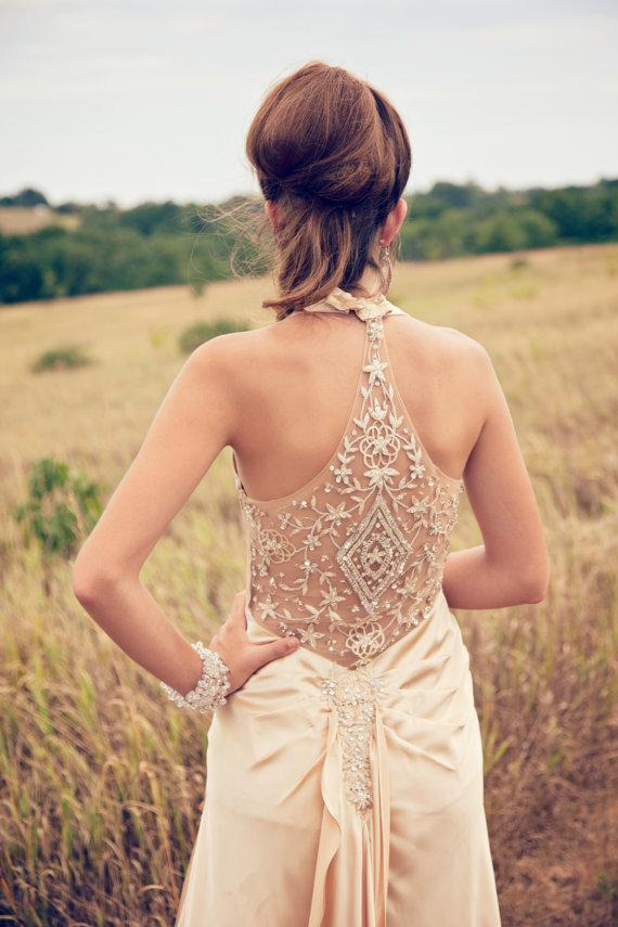 Wedding - Beaded champagne sleeveless wedding dress