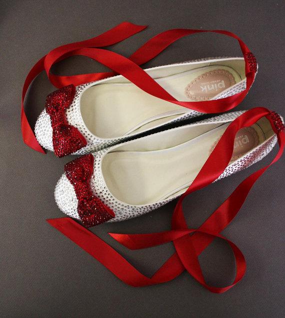 Wedding - Wedding Shoes -- Silver Rhinestone Covered Flat Wedding Shoes with Red Rhinestone Covered Bow on Toe and Sash - New