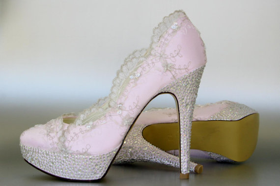 5ebcc9c02dfc Wedding Shoes -- Paradise Pink Platform Wedding Shoes with Silver Lace  Overlay and Silver Rhinestone Covered Heels and Platform - New