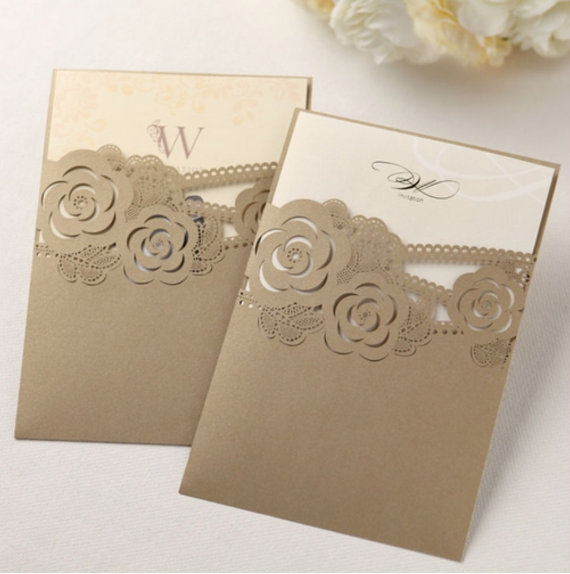 Hochzeit - Pearl Gold Wedding Invitation, Laser Cut Invitation, Custom Invitation Design, Personalized Invitations, Golden Laser Cut - Pack of 50 - New