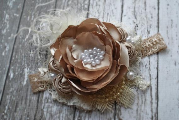 Mariage - Burlap headband Marie Antoinette headband flower girl headband headbands for flower girl ivory flower girl hair accessories for flower girls - New