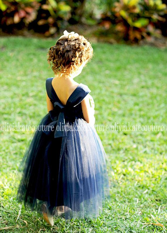 Wedding - Flower Girl Dress Natural Navy - New