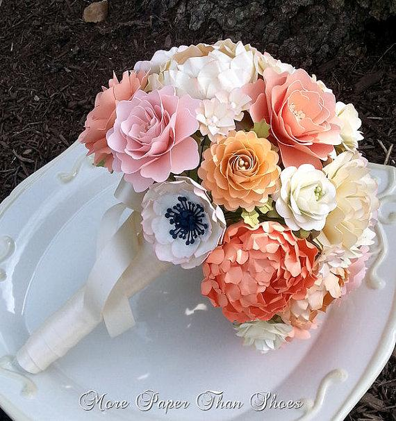 Paper bouquet paper flower bouquet wedding bouquet country paper bouquet paper flower bouquet wedding bouquet country white and peach sahbby chic custom made any color new mightylinksfo