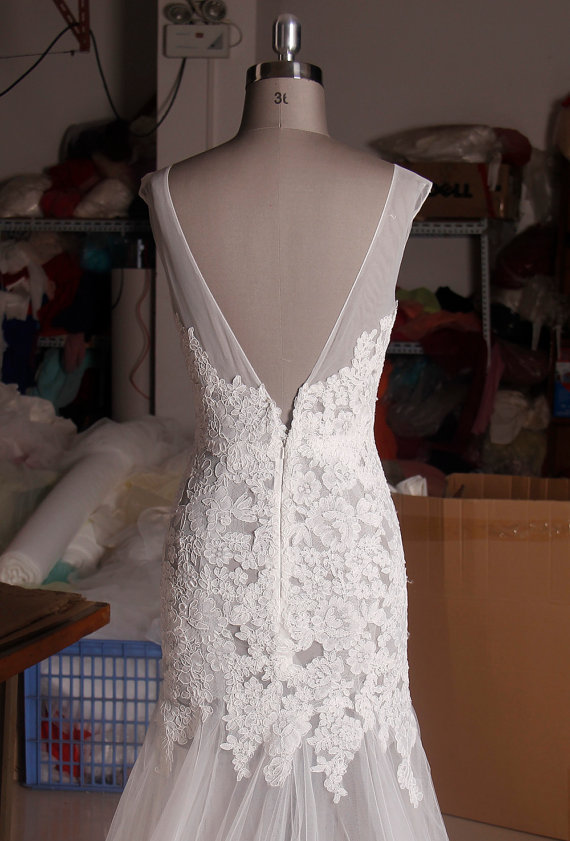 Wedding - Sexy Open Back Mermaid Lace Wedding Dress - New