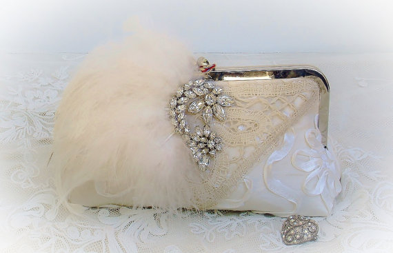 Hochzeit - Ivory Bridal Clutch / Gatsby / Wedding Handbags / Vintage ORA Brooch / Glam Wedding - New