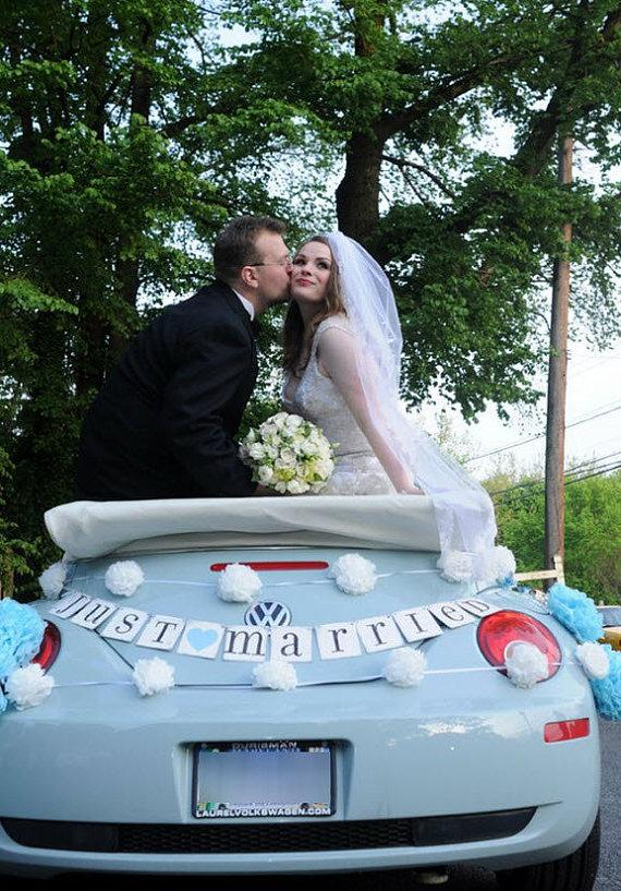 Wedding - JUST MARRIED car sign, wedding banner, photo prop, CUSTOM colors - New