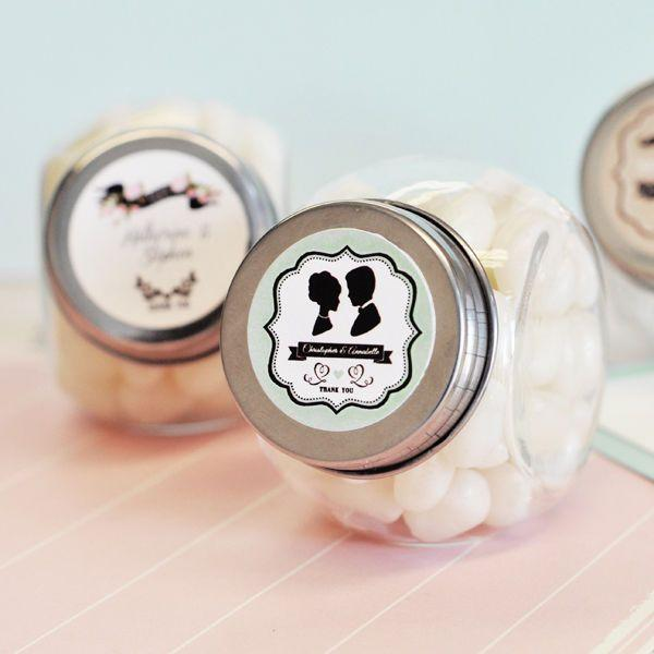48 Vintage Wedding Theme Personalized Candy Jars Bridal Shower Favors
