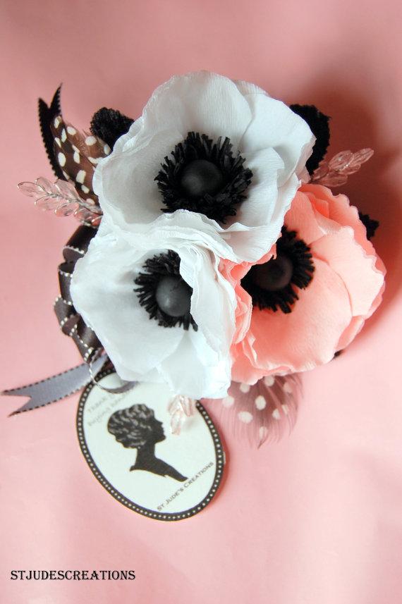 Black and white wedding anemone bouquet or corsage and boutonnierres black and white wedding anemone bouquet or corsage and boutonnierres silk or fresh flower alternative new mightylinksfo