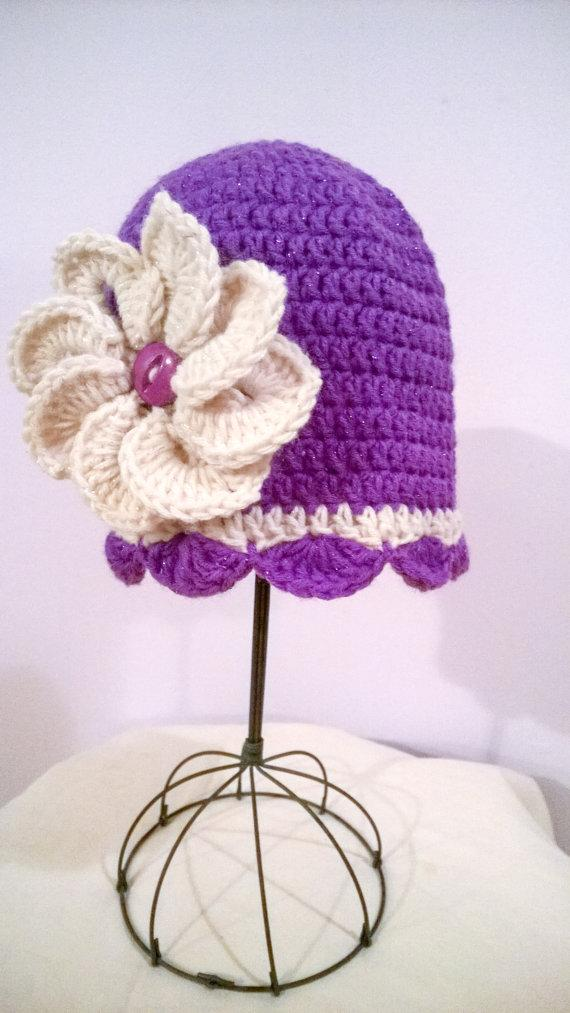 Mariage - Purple and Cream with Sparkly Flower Hat 3 to 6 Months - New