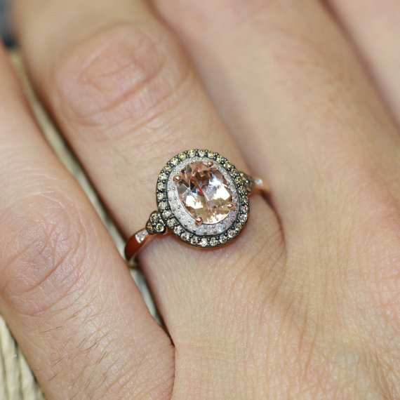 Mariage - Champagne Diamond and Morganite Engagement Ring in 10k Rose Gold Pink Morganite Halo Diamond Wedding Ring Band, Size 7 (Resizable) - New