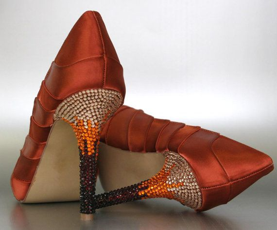Düğün - Burnt Orange Platform Peep Toe Wedding Shoes With Ombre Rhinestone Heel
