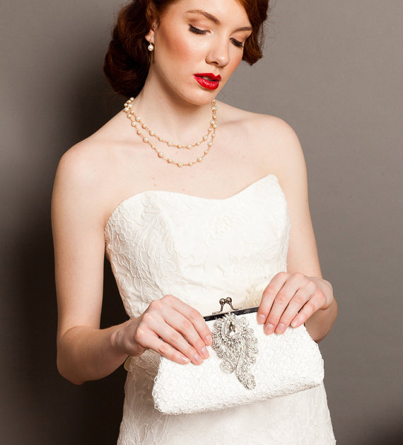 Hochzeit - Bridal Clutch with Crystal Brooch and Ivory Quatrefoil Lace 8-inch QUATREFOIL - New