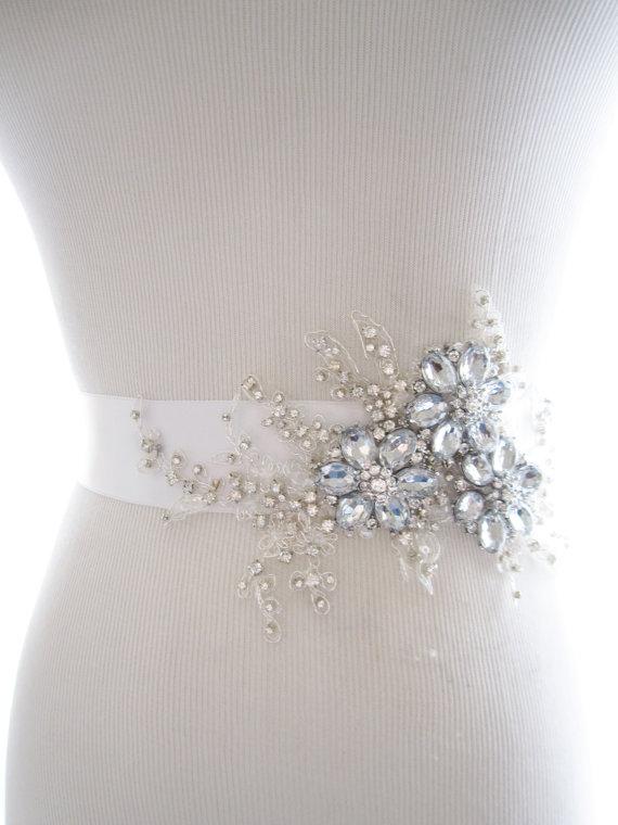 Свадьба - Amazing Rhinestone Beaded Lace Applique Bridal Sash, wedding sash, bridal belt, wedding belt - New