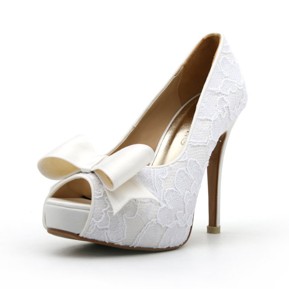 Lace White Wedding Shoe With Bow. Peep Toe Lace White Bridal Heel ...