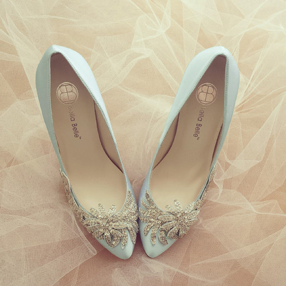 Something Blue Wedding Shoes With Crystal Vine Applique Beading  Embellishment Satin Bridal Pumps, Bella Belle DAWN   New